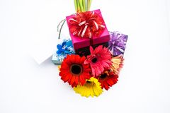 Mother's Day Concept, Post card with colorful flowers Stock Photo