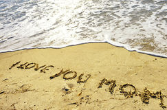 Mother`s day concept on sand. I love you mom concept on sand Stock Image