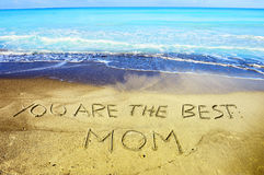 Mother`s day concept on sand. I love you mom concept on sand Royalty Free Stock Photo