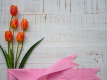 Mother`s day concept. tulips flower and pink ribbon on white woo stock photography