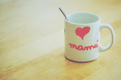 Mother's Day. Cup with drawing heart for Mother's Day Stock Image
