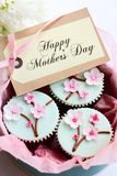 Mother's day cupcakes. Gift box of Mother's day cupcakes royalty free stock photo