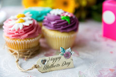 Mother's Day Cupcakes with tag Stock Images