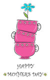 Mothers Day. Cute happy mothers day greeting of pink tea cups and a blue flower. Eps10 royalty free illustration