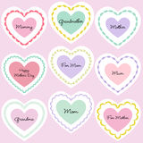 Mother`s day embroidered heart frames Stock Image