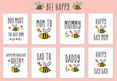 Mother`s day, Father`s day cards with cute bee, vector set. Mother`s day, Father`s day, birthday cards with cute bee, set of vector design elements vector illustration