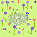 Mother's Day, floral pattern with tulips Stock Photos