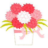 Mother`s day. Flower pot of carnation for Mother`s Day royalty free illustration