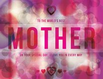 Mother's Day funky grunge design. Funky Mother's Day greeting background with bright pink hearts royalty free illustration