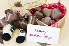 Mother's Day Gift. Gift box full of chocolate and label royalty free stock photos