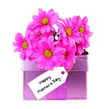 Mother's Day gift box and flowers Stock Photos