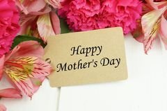 Mother's Day gift tag with flowers Stock Photo
