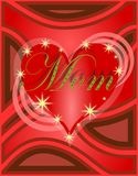 Mothers day greeting card with heart in red Royalty Free Stock Photography