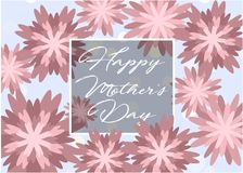 Mother`s day greeting card with beautiful flowers. Mother`s day greeting card with beautiful blossom flowers Royalty Free Stock Image