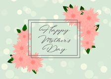 Mother`s day greeting card with beautiful flowers. Mother`s day greeting card with beautiful blossom flowers Royalty Free Stock Images