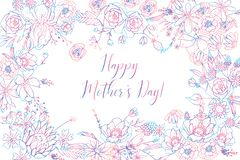 Mother`s Day Greeting Card With Beautiful Blossom Flowers royalty free illustration