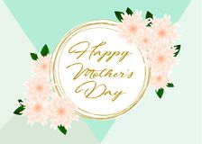 Mother`s day greeting card with beautiful flowers. Mother`s day greeting card with beautiful blossom flowers Stock Images