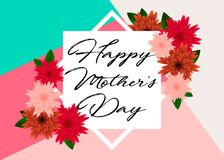 Mother`s day greeting card with beautiful flowers. Mother`s day greeting card with beautiful blossom flowers Royalty Free Stock Photography