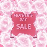 Mother s day sale card with carnation flowers. Royalty Free Stock Photo