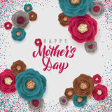 Mother`s Day greeting card. Confetti and Floral Background Royalty Free Stock Image