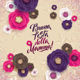 Mother`s Day greeting card. Confetti and Floral Background. Italian Text Royalty Free Stock Images