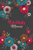 Mother`s Day greeting card. Confetti and Floral Background. Spanish Text Stock Photos