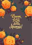 Mother s Day greeting card. Confetti and Rose Floral Background. Italian Text Royalty Free Stock Photo