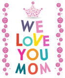 Mother's Day greeting card with diamonds and crown vector Stock Photography