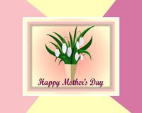 Mother`s day greeting card with flowers background.  White snowdrops. Mother`s day greeting card with flowers background.  Frame with White snowdrops Stock Photo
