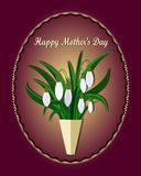 Mother`s day greeting card with flowers background. White snowdrops. vector illustration