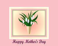 White snowdrops. Mother`s day. Mother`s day greeting card with flowers background. Frame with White snowdrops Royalty Free Stock Photo
