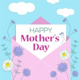 Mother`s day greeting card with flowers background, vector design illustrations. Mother`s day greeting card with flowers background. Hand drawn style vector royalty free illustration