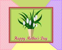 Mother`s day greeting card with flowers background. White snowdrops. stock illustration