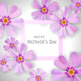 Mother`s day greeting card with flowers phlox background. Mother`s day card with flowers phlox on the background Royalty Free Stock Photography