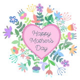Mother's day greeting card with flowers. Vector illustration. Template, card, brochure Stock Photography