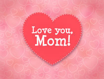 Mother's day greeting card. I love you, Mom. I love you, Mom. Mother's day greeting card with hearts Vector Illustration