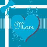 Mothers day greeting card with heart and ribbon Royalty Free Stock Image