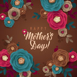 Mother`s Day greeting card. Polka Dot and Floral Background Stock Photos