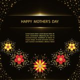 Mother`s Day greeting card. Mother`s Day greeting poster with flowers on black background Stock Photography
