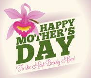Mother's Day Greeting Card with Pretty Orchid, Vector Illustration Royalty Free Stock Image