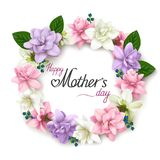 Mother`s day greeting card with realistic flower wreath on white background Royalty Free Stock Photography