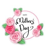 Mother`s day greeting card with roses, circle and lettering. Happy mother`s day greeting card with roses, circle and lettering.  Pink flowers for banners Royalty Free Stock Images