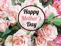 Mother`s Day Greeting Card with Roses Flowers Background stock photos