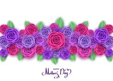 Mother`s day greeting card with roses. Mother`s day greeting card with roses, lettering.  Flowers for banners,  posters, brochure, voucher discount, sale Stock Photo