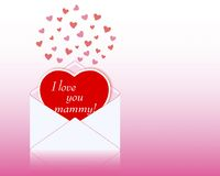 Mothers day. Greeting card in the shape of heart. Royalty Free Stock Images