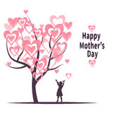 Mother's Day greeting card template. Blossoming tree with hearts as leaves and silhouette of little girl Royalty Free Stock Images