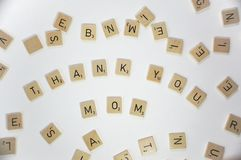 Mother`s day greeting with scrabble tiles royalty free stock photo