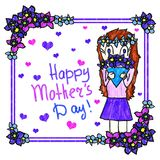 Mother`s day handmade greeting card. Children`s drawing simulation. Girl gives bouquet of flowers to her mother. royalty free illustration