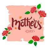 Mother`s Day handwritten text on a pink torn sheet with stylized roses and hearts. Vector stock illustration