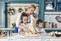 Mother`s day. bake, cooking, family, food, bread, pasta, pizza, together, royalty free stock photo
